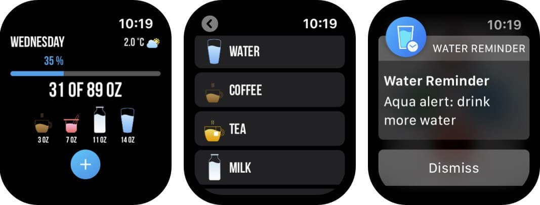 напоминание о воде скриншот приложения для часов Apple Watch