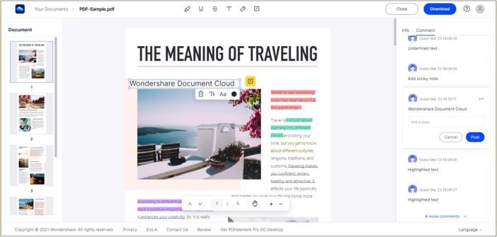 Инструмент для совместной работы с аннотациями в Wondershare Document Cloud