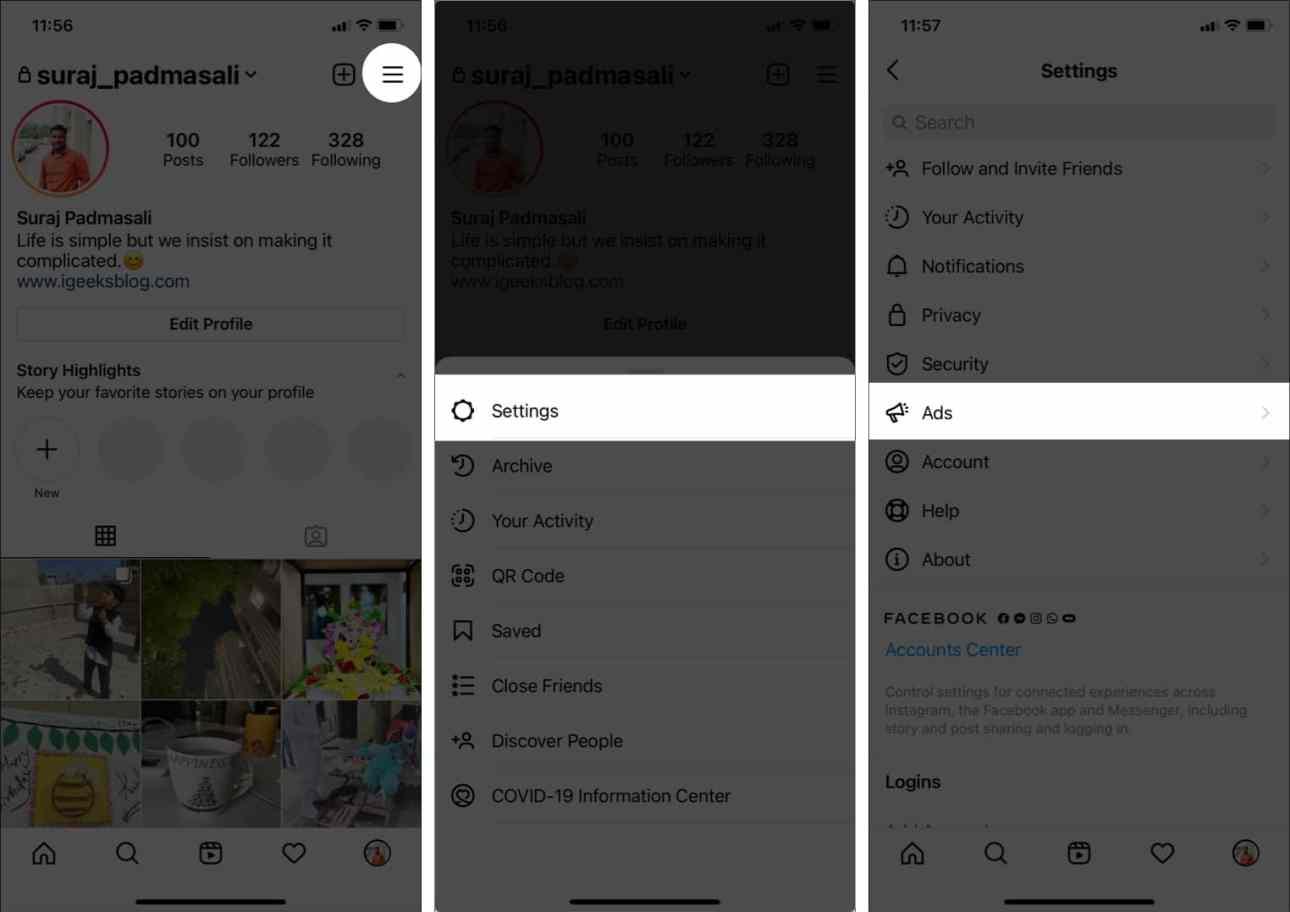 Перейдите в свой профиль в Instagram, коснитесь настроек и рекламы.