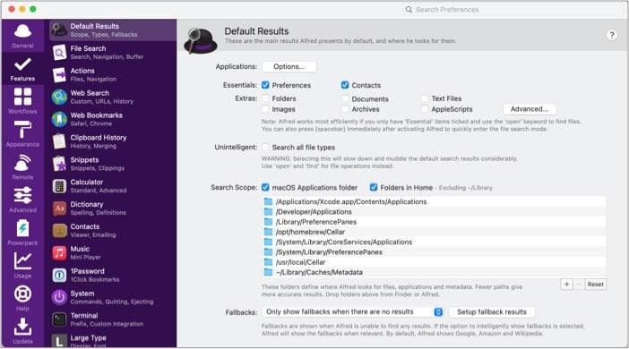 Используйте опцию расширенного поиска в приложении Alfred 4 для Mac