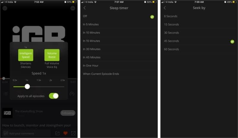 Звуковой эффект увеличения громкости в приложении Podbean для iPhone и iPad