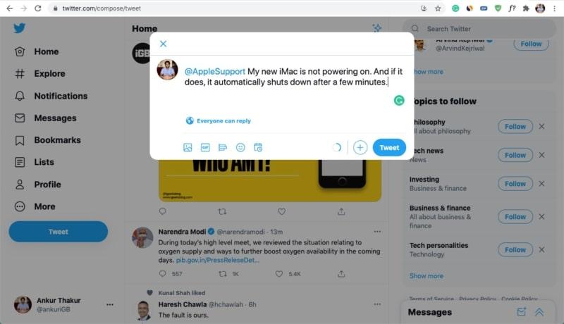 Wenden Sie sich an den Apple Support, indem Sie sie auf Twitter markieren