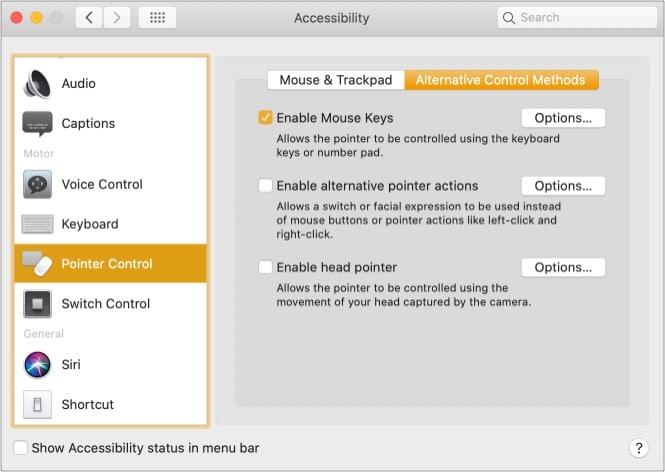 Включите щелчок правой кнопкой мыши на Mac с помощью специальных возможностей