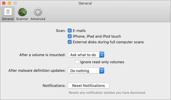 Включите сканирование для iPhone iPad в настройках VirusBarrier