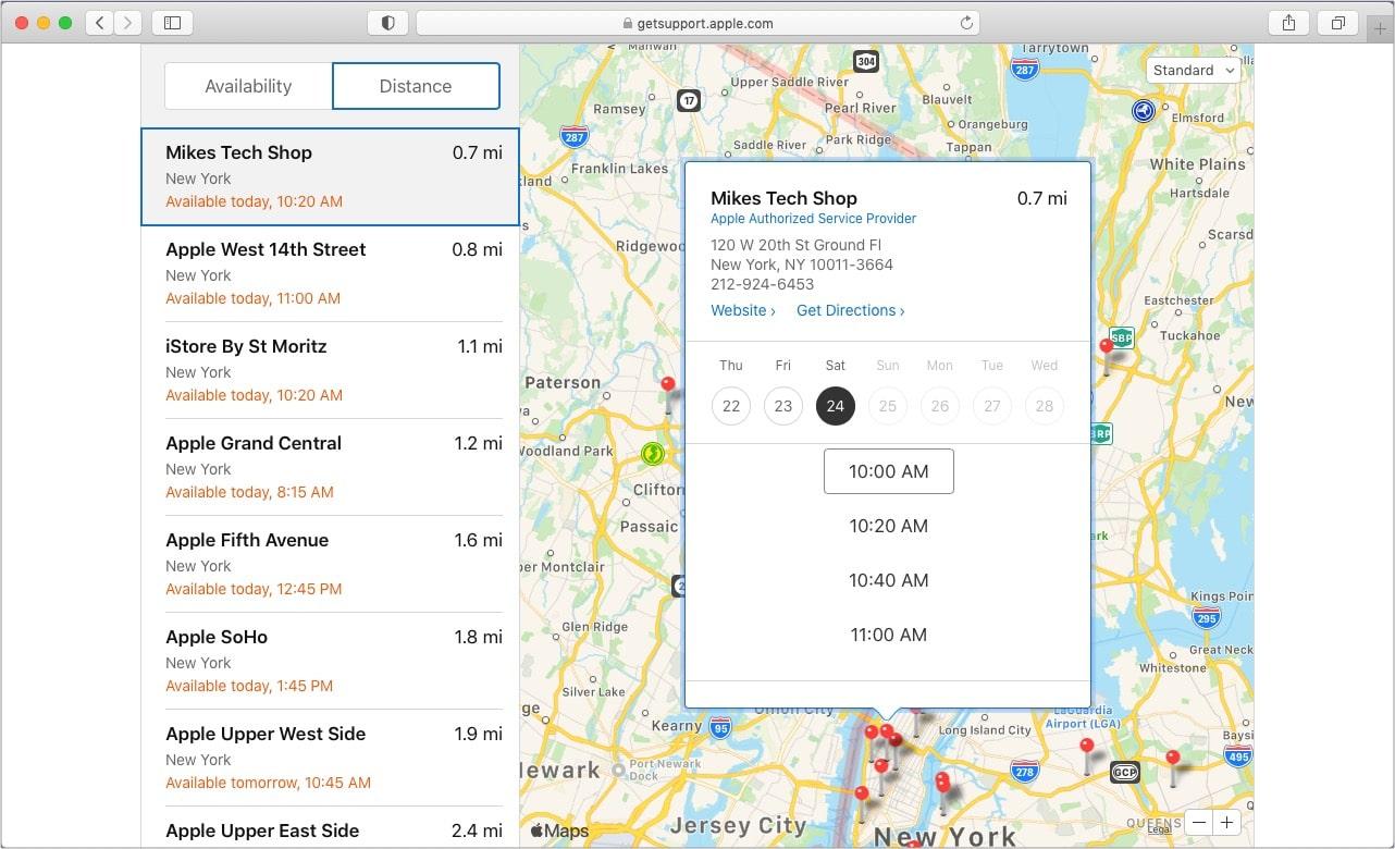 Введите свой почтовый индекс, выберите Apple Store или авторизованного поставщика услуг и установите дату и время.