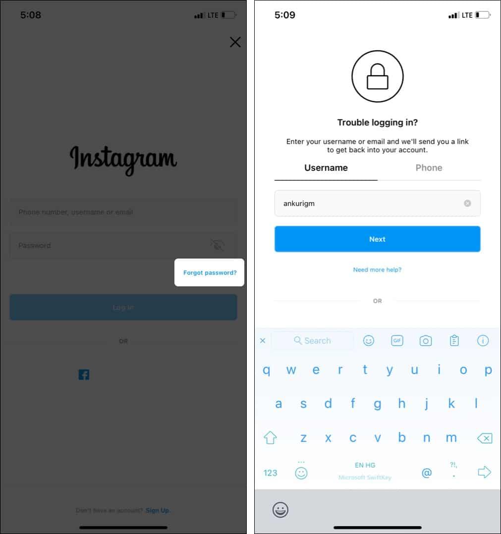 Как сбросить забытый пароль в Instagram с помощью приложения
