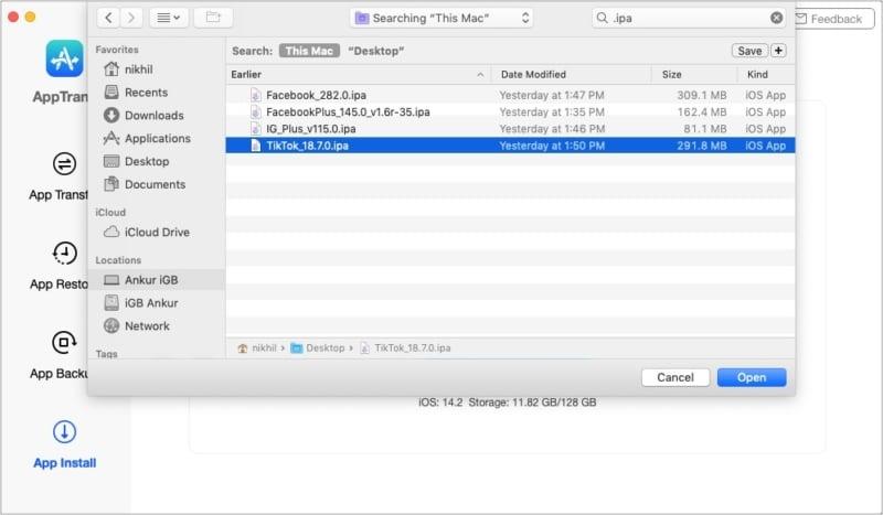 Выберите файл ipa, чтобы установить его на iPhone или iPad с помощью AppTrans