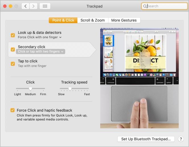 Щелкните двумя пальцами правой кнопкой мыши на Mac