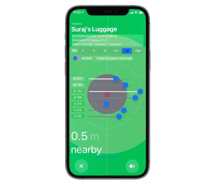 Экран iPhone в режиме скрытого разработчика AirTag