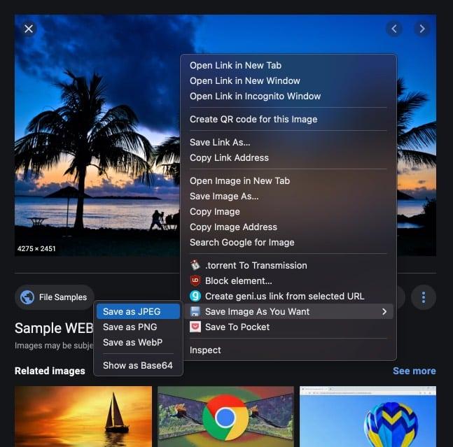 Конвертируйте изображения Webp с помощью расширения Chrome