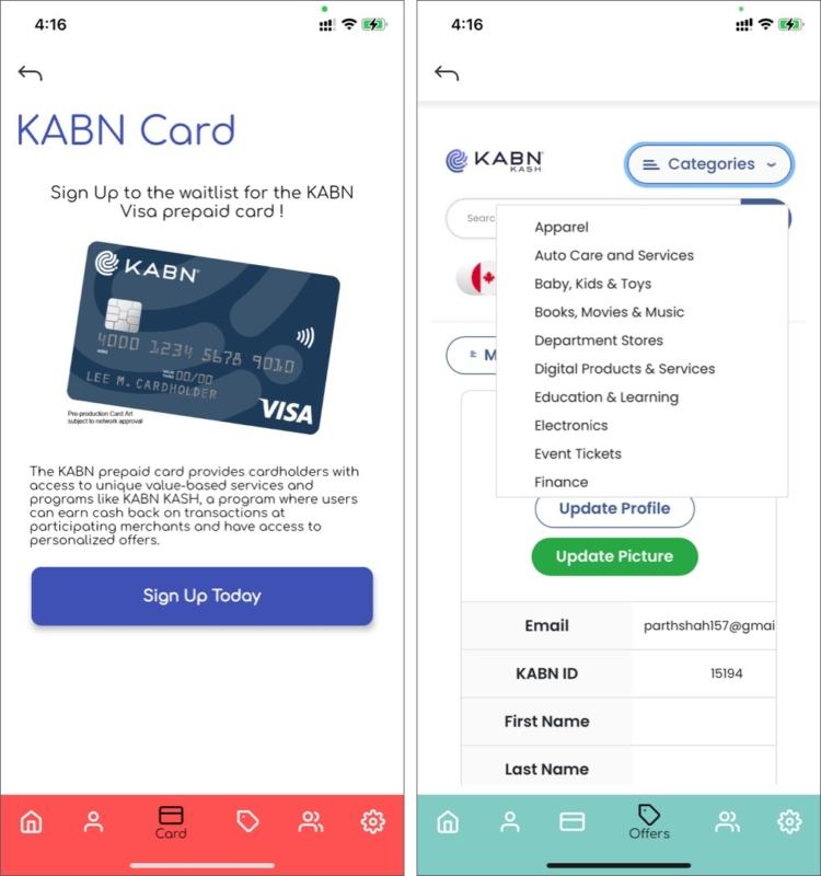 Программа цифрового кошелька и карта KABN Visa в приложении Liquid Avatar для iOS