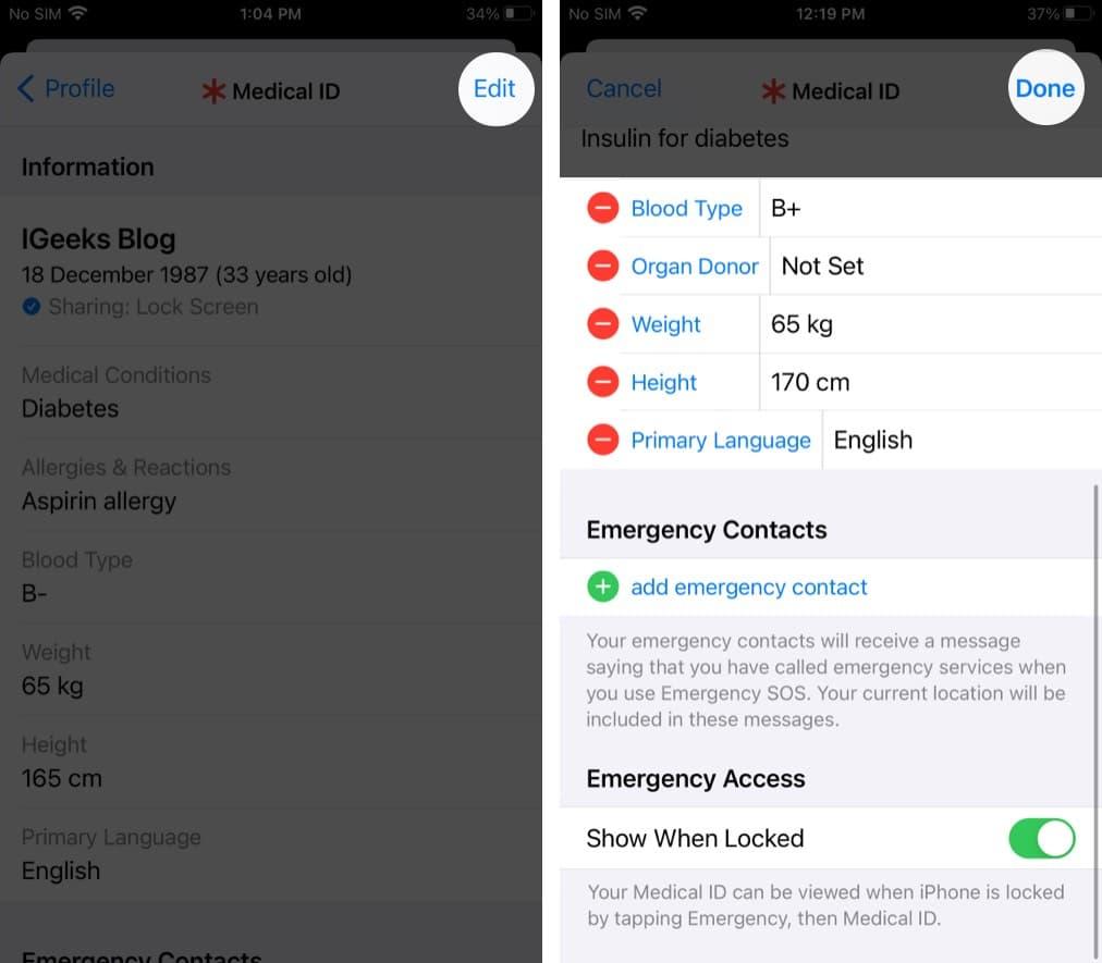Редактировать информацию в вашем медицинском удостоверении на iPhone