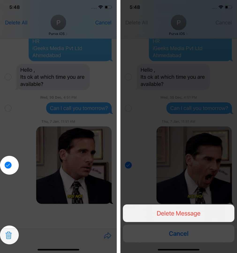 Как удалить фото и видео из приложения Сообщения iOS