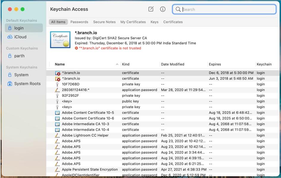 Открытый доступ к связке ключей на Mac