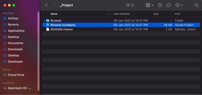 Откройте файл Browser.xcodeproj на Mac
