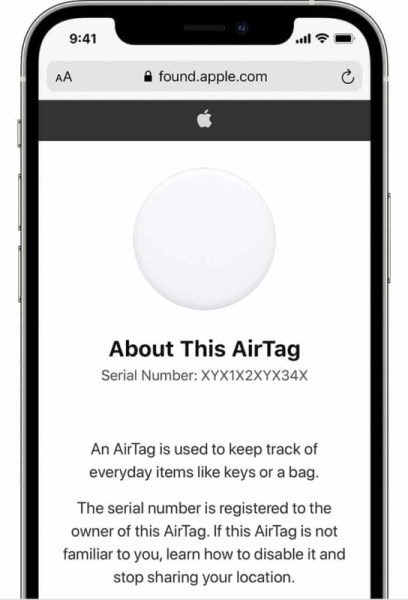 Веб-сайт Apple Found с серийным номером AirTag