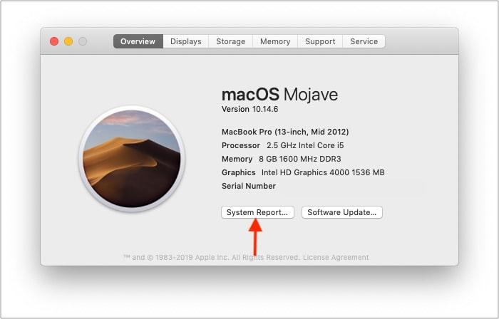 Нажмите Системный отчет на Mac