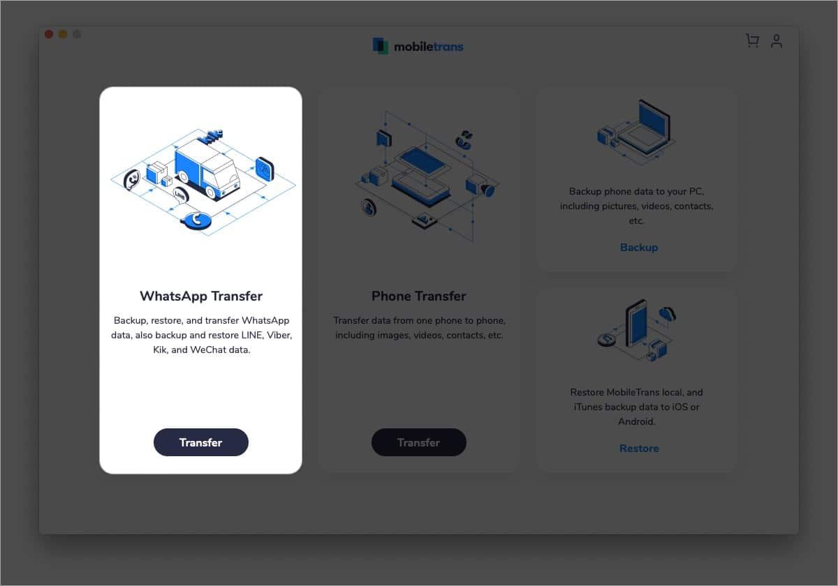 Нажмите WhatsApp Transfer внутри MobileTrans