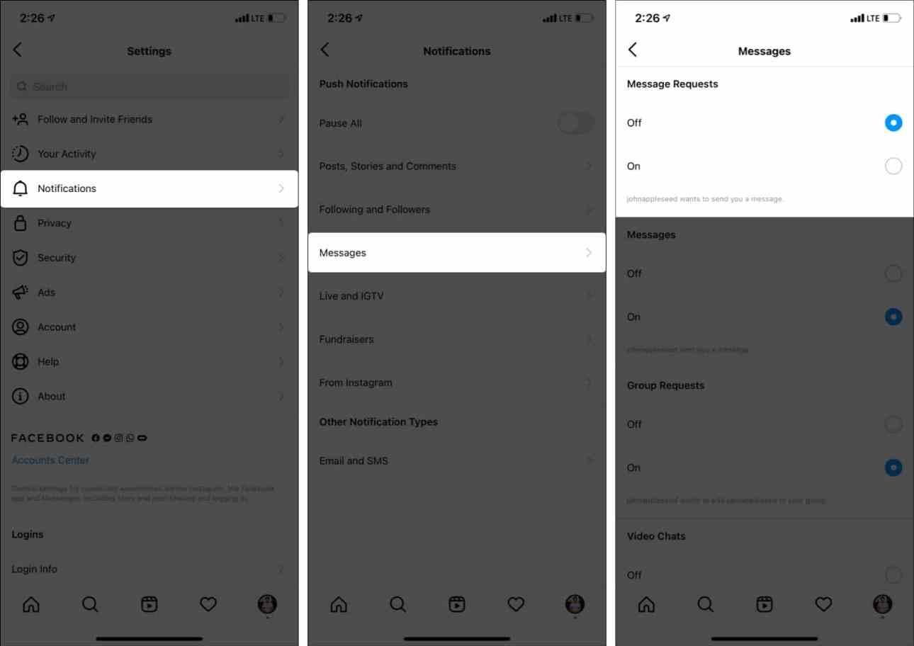 Как отключить уведомления о запросах сообщений в Instagram