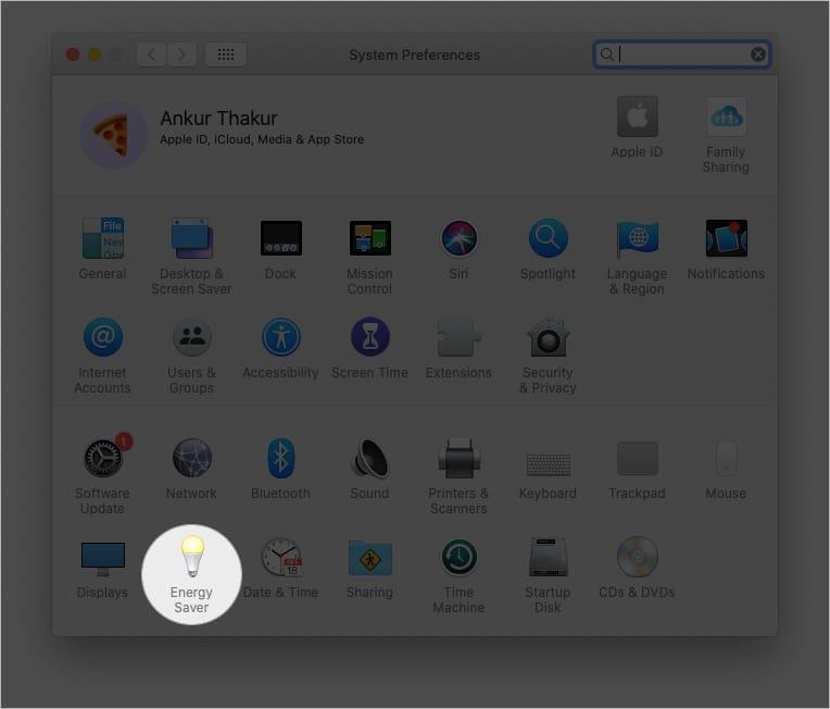 В системных настройках Mac нажмите Energy Saver.