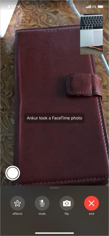 Name hat eine FaceTime-Foto-Benachrichtigung erhalten