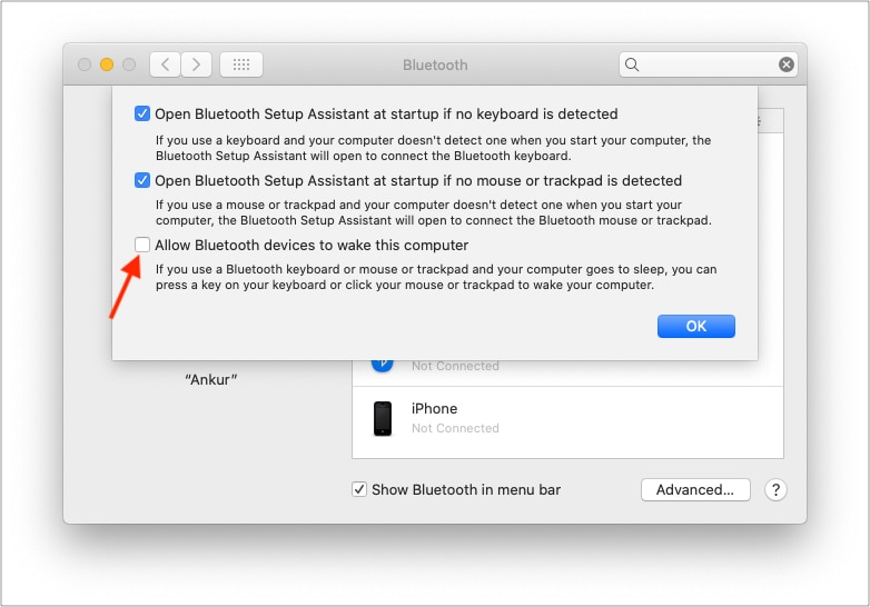 Снимите флажок Разрешить устройствам Bluetooth выводить этот компьютер из спящего режима.