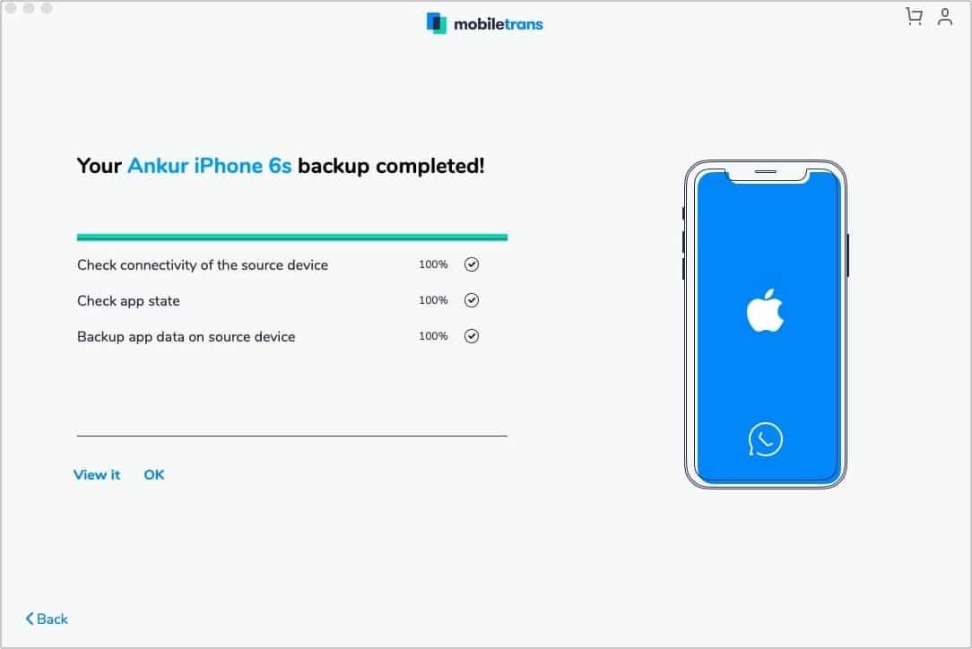 Резервное копирование WhatsApp с iPhone на Mac завершено