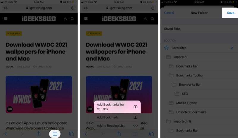 Добавьте все вкладки Safari в закладки в iOS 14: iPadOS 14 или более ранней версии