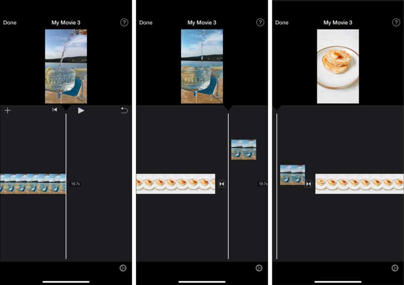 Перетаскивание для изменения положения видео на шкале времени iMovie