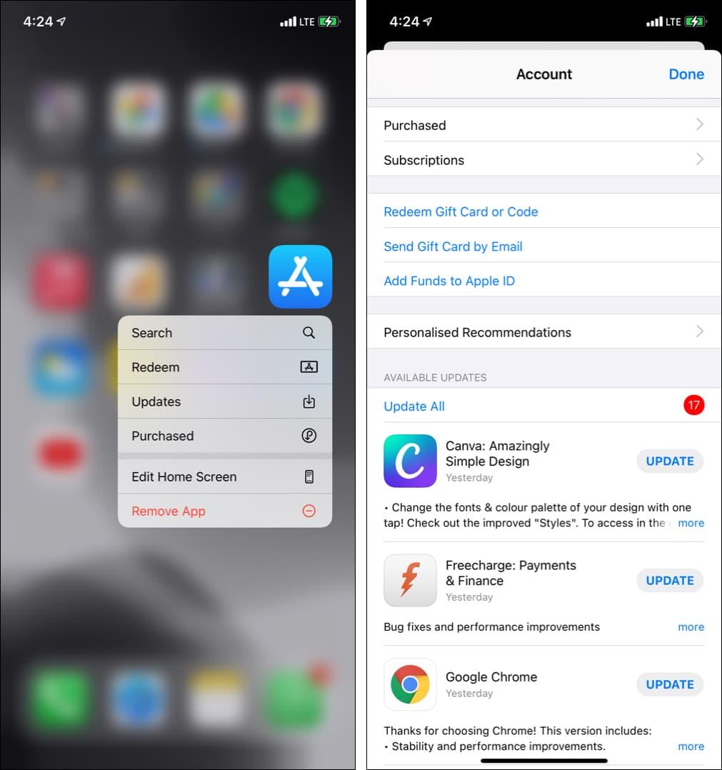 Нажмите и удерживайте значок App Store и выберите «Обновить», чтобы обновить приложения на iPhone.