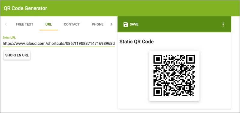 Сделайте QR-код с помощью генератора QR-кода и отсканируйте его на iPhone