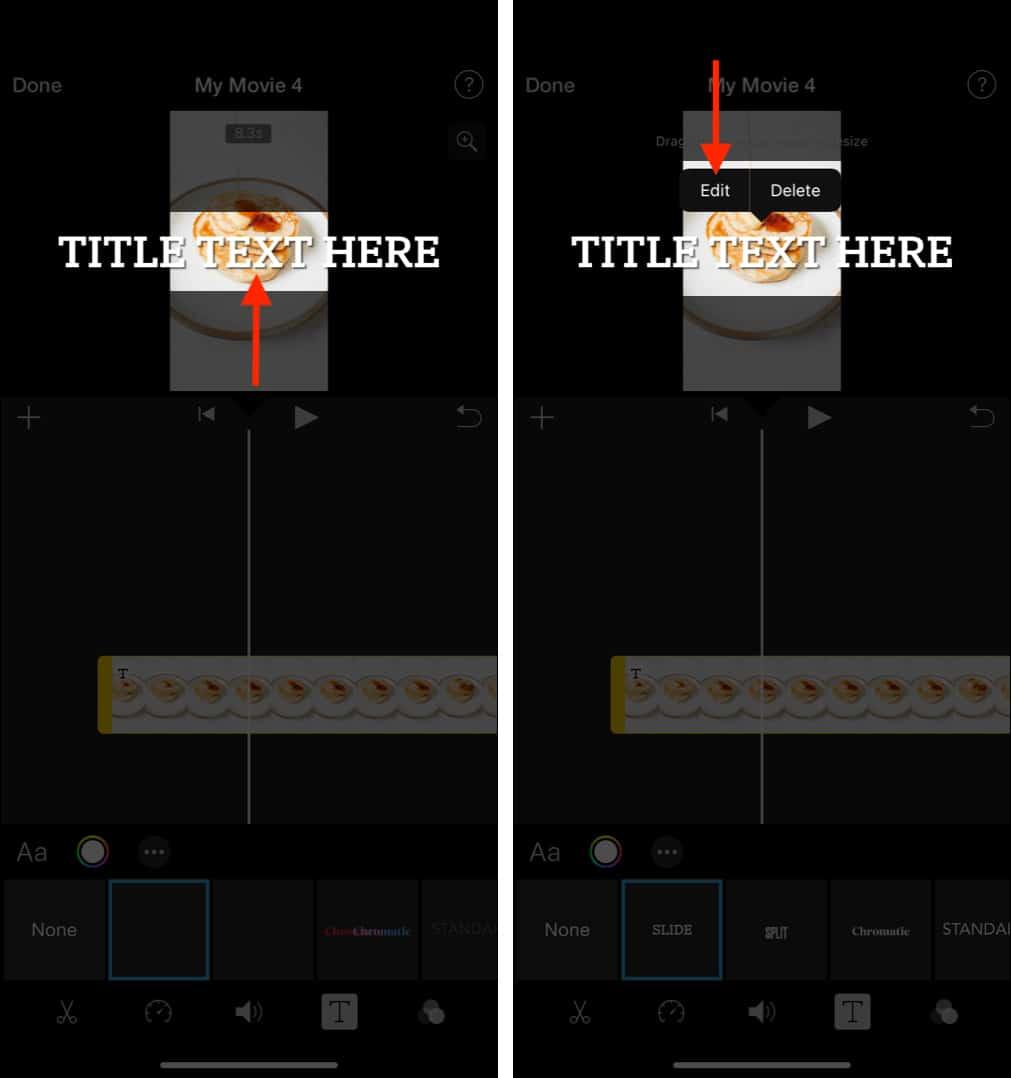 Нажмите ЗДЕСЬ ТЕКСТ НАЗВАНИЯ и выберите «Редактировать», чтобы добавить собственный текст в iMovie.
