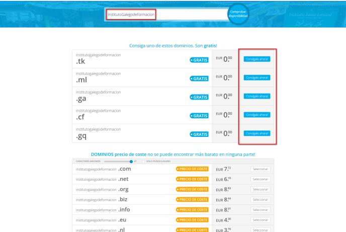Freenom.com en el Instituto Galego de Formación