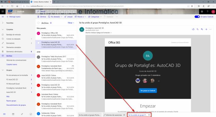 Pestañas de Outlook - Instituto Galego de Formación