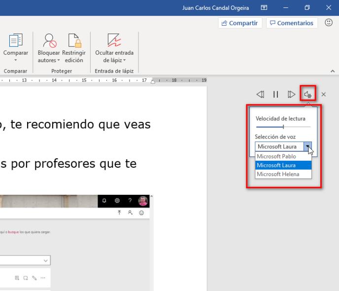 Configuración de leer en voz alta en Word - Instituto Galego de Formación