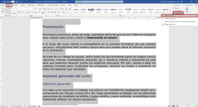 Seleccionar todo en Word - Instituto Galego de Formación