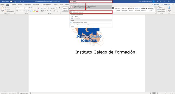 Abrir historial de versiones en Word - Instituto Galego de Formación