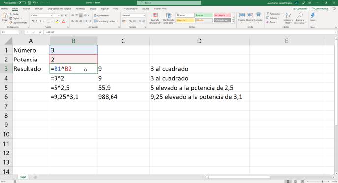 Ejemplos de la función POTENCIA de Excel con acento- Instituto Galego de Formación