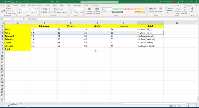 Función SUMA de Excel de rangos con nombres - Instituto Galego de Formación