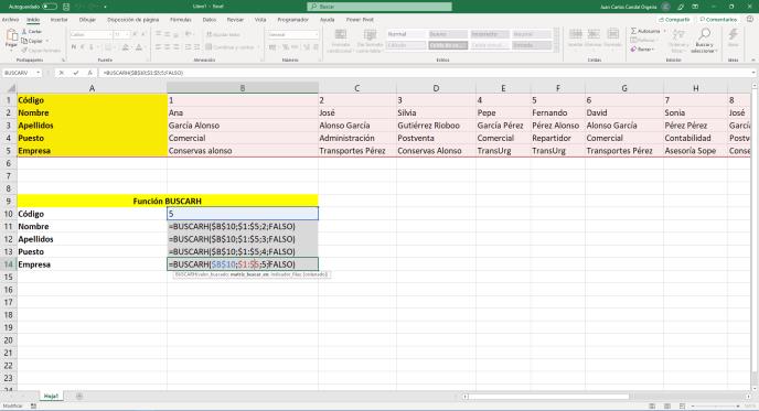 Función buscarh de Excel parámetros - Instituto Galego de Formación