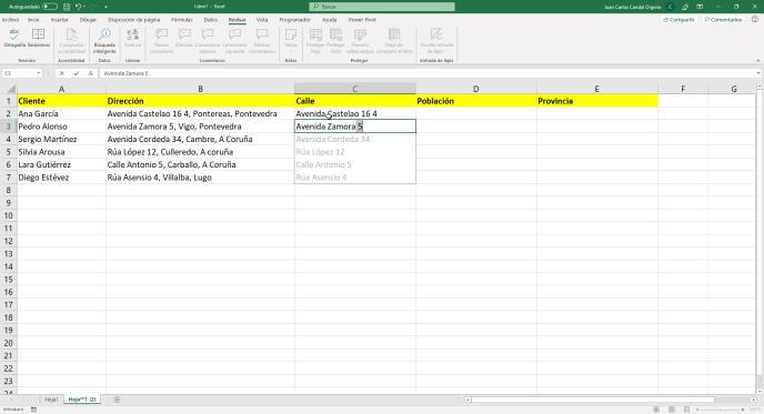 Relleno rápido en Excel paso 4 - Instituto Galego de Formación