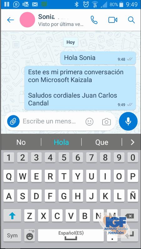 Primera conversación con Microsoft Kaizala - Instituto Galego de Formación