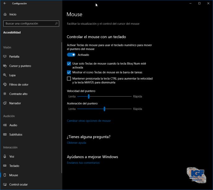 Configurar controlar el ratón con el teclado en Windows 10 - igf.es