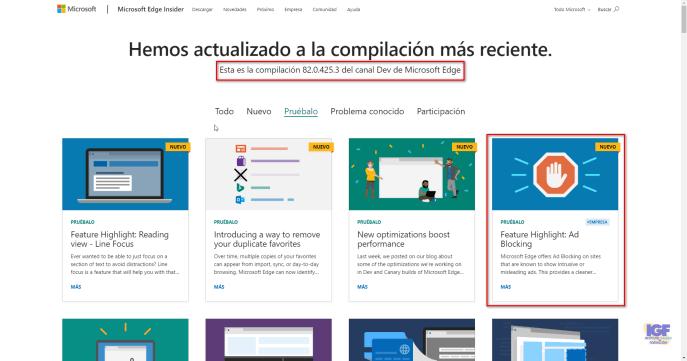 Bloqueo de anuncios en Microsoft Edge