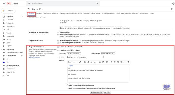 Respuestas automáticas en Gmail