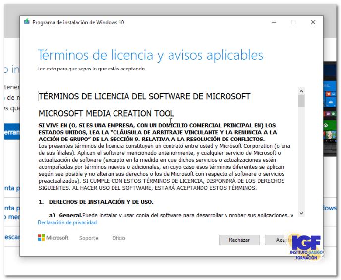 Términos de licencia para Actualizar a Windows 10 gratis