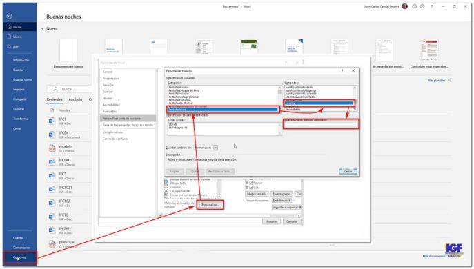 Pasos para personalizar métodos abreviados teclado de Word - igf.es