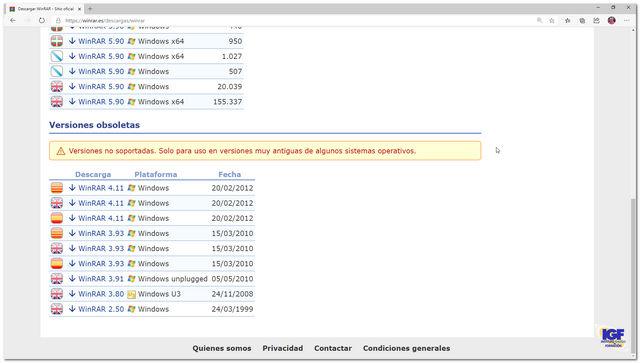 Winrar obsoleto - igf.es