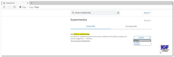 Activar Windows SpellChecker en Edge - igf.es
