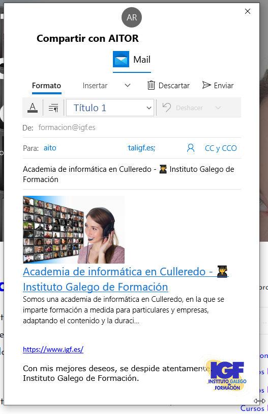 Correo compartir enlace - igf.es